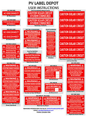 40 Premium UV Resistant Solar PV Safety Photovoltaic Labels With Rapid Shutdown