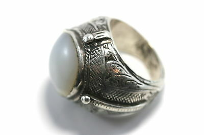 A112 massive moonstone white jade color stone Massive sterling ring size 10 3/4