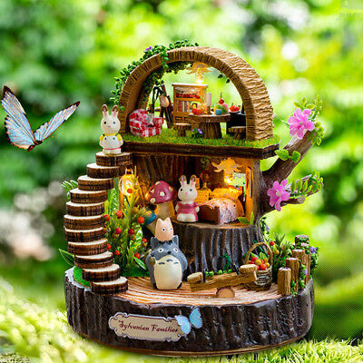DIY Handcraft Miniature Project Dolls House Totoro & Sylvanian Country Cottage