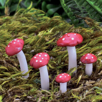 Fairy Garden Mini - Micro Mini Red Mushroom Picks - Set of 5