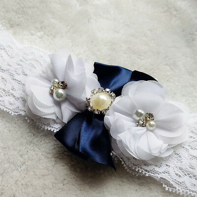 Vintage Lace Pearl Rhinestone Wedding Bridal Garter Blue White Flowers