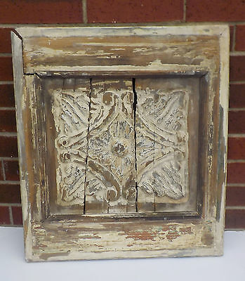 "SPANISH COLONIAL ANTIQUE WOODEN DOOR PANEL ENGRAVED OLD MEXICO  21"" x 24 3/8"" cc"