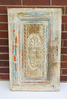 "SPANISH COLONIAL ANTIQUE WOODEN DOOR PANEL ENGRAVED OLD MEXICO 29 5/8 x 18"" ee"