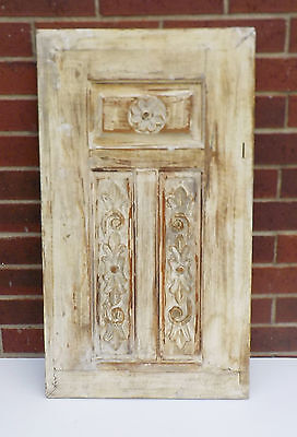 "SPANISH COLONIAL ANTIQUE WOODEN DOOR PANEL ENGRAVED OLD MEXICO 30"" x 17"" gg"