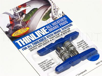NEW Kool-Stop Thinline Mt Bike/MTB V Brake Pads - Threaded All-Weather Blue