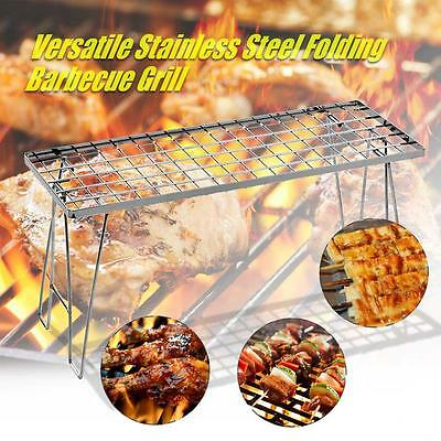 Outdoor Camping Versatile Folding Barbecue Grill BBQ Rack Stainless Steel K1S0