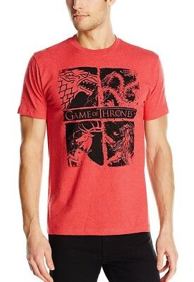 Game Of Thrones FOUR HOUSE SIGILS Red T-Shirt NWT Licensed & Official