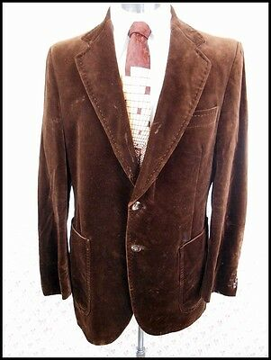 Vintage 1970s McGregor Plush Brown Velvet Jacket Formal Prom Tuxedo Style 38-39