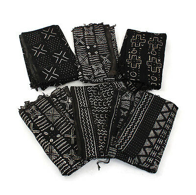 "Authentic Black/White Mudcloth Fabric African Mali Mud Cloth Handwoven 63""x 45"""