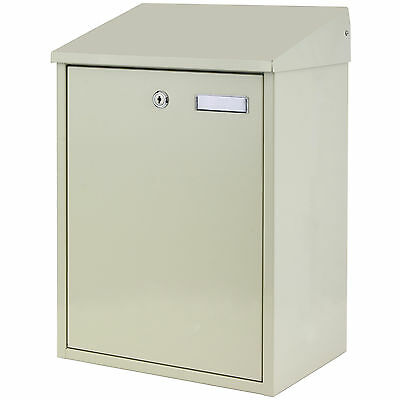 Large Cream Lockable Outdoor Mailbox/Postbox Letter/Mail/Post Box House Wall