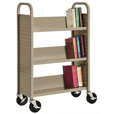 "Sandusky Lee SL330-04 Single Sided Sloped Shelf Book Truck, 14"" Length, 32"" Widt"