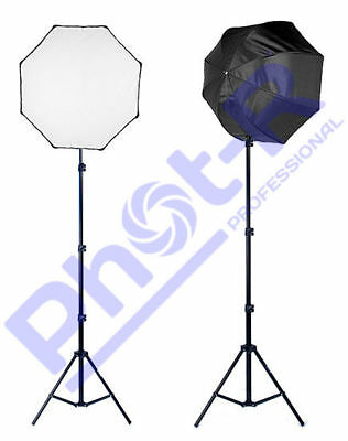 Phot-R 2x 80cm Octagonal Photo Studio Softbox and 2m Adjustable Light Stand Kit
