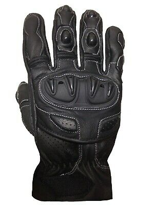 Motorcycle Summer Gloves Leather Biker Rider Protective Motorbike Perforated