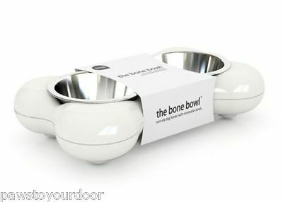 Hing Dog Bone Bowl Twin Stainless Steel Puppy Food Water Feeder Small White