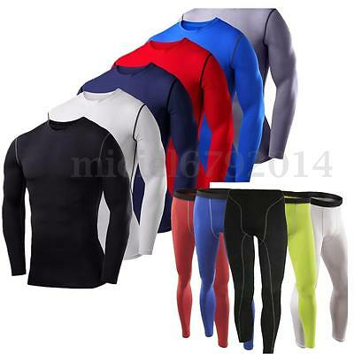 Mens Under Compression Skins Base Layer Body Armour Top Tights Gym Gear Pant