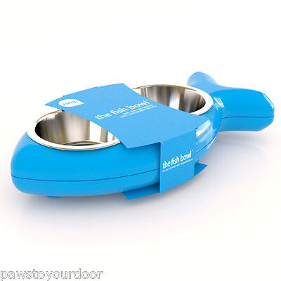 Hing Cat Bowl Kitten Fish Twin Stainless Steel Bowls Non Slip Food Water Blue • EUR 16,97