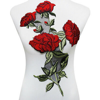 Large Rose Embroidery Patches Lace Fabric Motifs Venise Applique Sewing Design