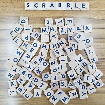 New 200 Wooden Scrabble Tiles Blue Letters & Numbers For Crafts Wood Uk Sell