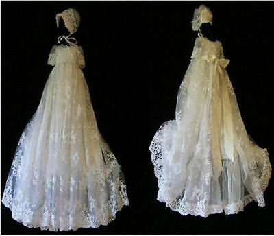 High Quality Christening Dresses Lace WITH BONNET Any Size Baptism Gown