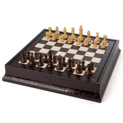 NEW Renzo Brown Crocodile Print Leather Chess & Backgammon Set