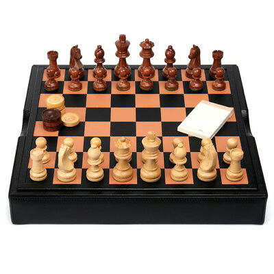 NEW Renzo Black Leather and Wood Chess Set