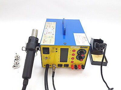 3in1 SMD HotAir Rework Station 909D Soldering Iron Power supply 3 Nozzles (909D)