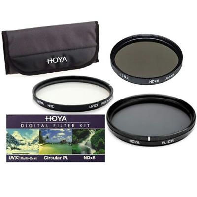 Hoya 72mm 3x Filter Kit HMC Digital UV(C) + Circular Polarising CPL + ND8 Pouch