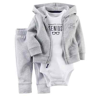 Baby Boy's Carters Cardigan Romper Pants 3 pcs Set Outfit Clothes Track Suit