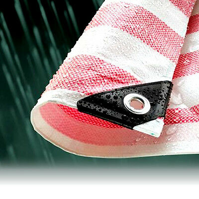 2.7M x 3.5M RED STRIPED WATERPROOF TARPAULIN SHEET TARP COVER WITH EYELETS