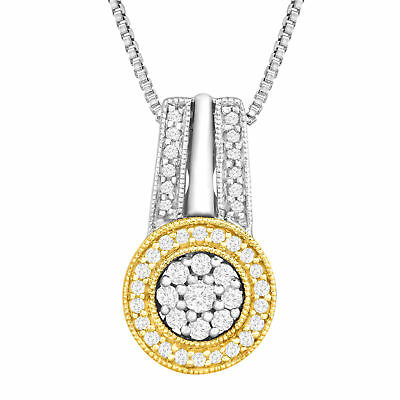 1/3 ct Diamond Circle Pendant in Sterling Silver & 14K Gold