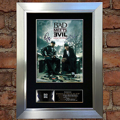 BAD MEETS EVIL Eminem Signed Autograph Mounted Photo Repro A4 Print 127
