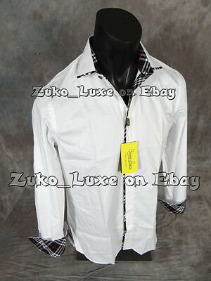NEW Mens Banana LUXE Button Dress Shirt White with Black Red Plaid Trim