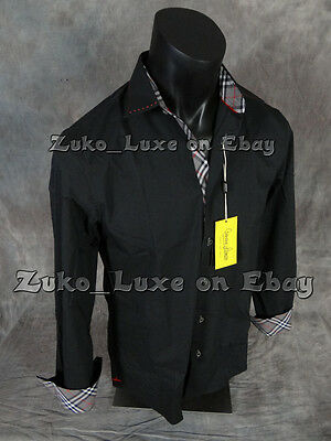 NEW Mens Banana LUXE Button Dress Shirt Black with Black Red Plaid Trim
