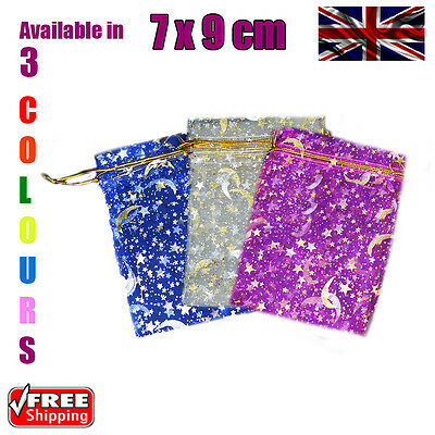 7 x 9 cm Stars & Moon Organza Gift Wedding Favour Bags Jewellery Pouch 3 Colours