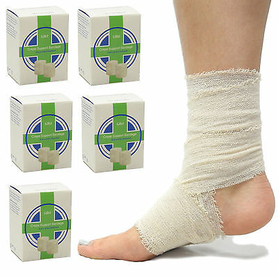 100% Cotton Latex Free Boxed Crepe Joint Support Bandages 5cm x 4.5m - 5 Pack
