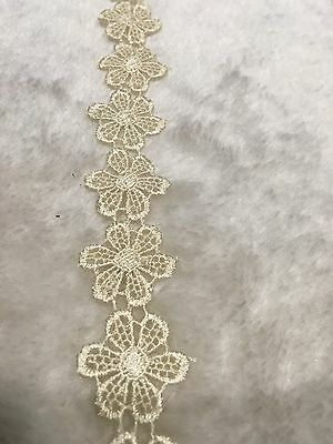 25mm Ivory White Sewing Craft Venise Flower Ribbon Lace Trims Dress Per Meter