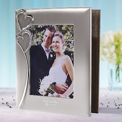 Sparkling Love Double Heart Photo Album with Frame Cover + Option to Personalize