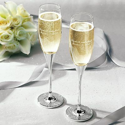 Glitter Galore Wedding Champagne Toasting Flutes Pair + Option to Personalize