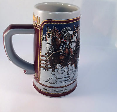 Budweiser Stein Ltd Ed Ceramic 1989 Hitch Winters Evening Clydesdales Christmas