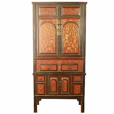 "Antique Chinese Asian 77"" Tall Painted Wedding Cabinet Wardrobe W Gold Carvings"