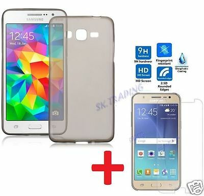 Tpu Transparent Black Case Cover Tempered Glass Screen Protector Samsung Galaxy