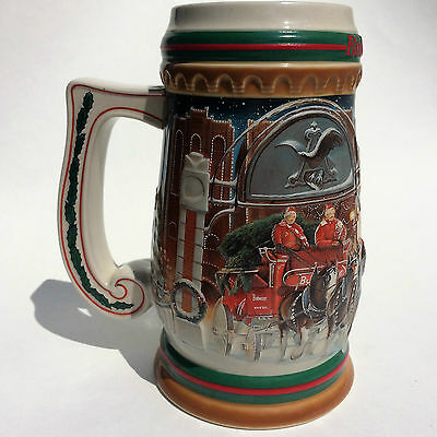 Budweiser Stein Ltd Ed Ceramic 1997 Home for the Holidays  Clydesdales Christmas