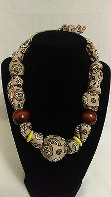 Vintage BOHO large beads in cloth necklace