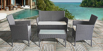 4 Pc Rattan Outdoor Furniture Set Garden Furniture 3 Colours