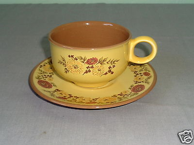8 Taylor Smith Indian Summer Yellow & Brown Flower Ceramic Ironware Cup & Saucer