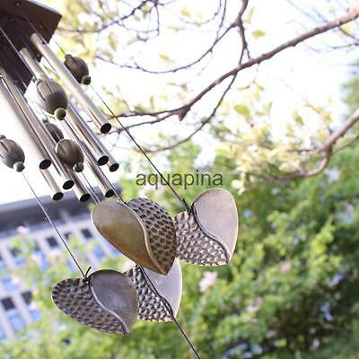 Hearts Wind Bell Chimes Metal 8 Tubes Rustic Outdoor Yard Garden Relaxing