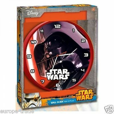 "Children's Disney Star Wars ""Darth Vader"" Wall Clock Kids Bedroom Gift  25cm Red"