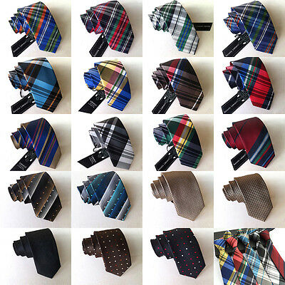 SJ19C Mens Fashion Skinny 100% Silk JACQUARD Tie Silm Neck Ties Plaids Striped