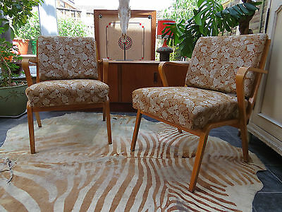 A Pair Of Vintage East German Lounge Armchairs C1960 Original Condition (A162)
