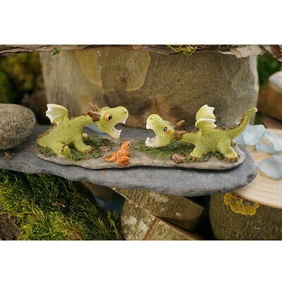 Miniature Dollhouse FAIRY GARDEN - Mini Dragons Playing - Accessories